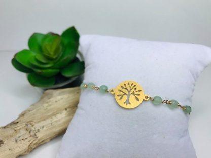 Bracelet Arbre de vie Aventurine détail raffiné inspirant pierre naturelle lithotherapie doré acier chirurgical inoxydable fait main toulouse