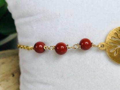 Bracelet Arbre de vie Jaspe Rouge détail raffiné inspirant bijoux pierres naturelles alex atelier lithotherapie doré acier chirurgical inoxydable fait main france artisanat