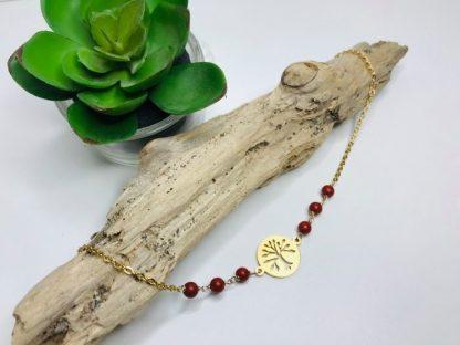 Bracelet Arbre de vie Jaspe rouge raffiné inspirant bijoux pierres naturelles alex atelier lithotherapie doré acier chirurgical inoxydable fait main france artisanat