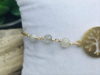 Bracelet Arbre de vie Labradorite détail raffiné inspirant bijoux pierres naturelles alex atelier lithotherapie doré acier chirurgical inoxydable fait main france artisanat