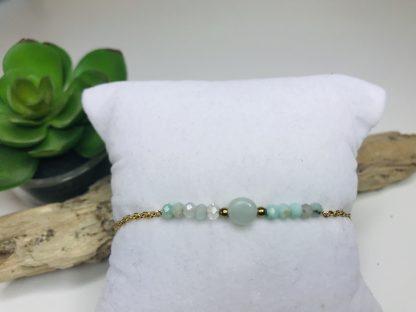Bracelet Emmy Amazonite raffiné inspirant bijoux pierres naturelles alex atelier lithotherapie doré acier chirurgical inoxydable fait main france artisanat