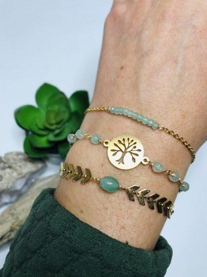Composition bracelets Aventurine raffiné inspirant pierre naturelle lithotherapie doré acier chirurgical inoxydable fait main france artisanat toulouse