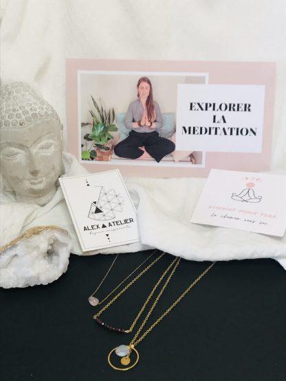 Coffret bien être - Méditation colliers dorés bijoux en pierres naturelles Alex atelier acier chirurgical inoxydable plaqué or artisanat