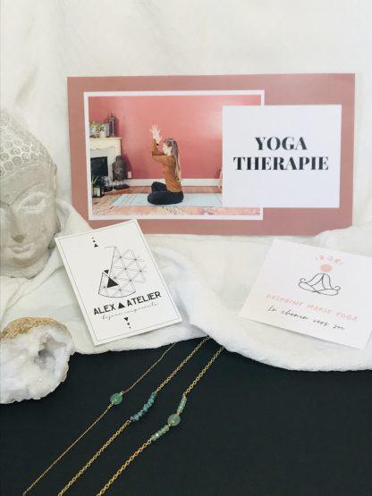 Coffret bien être - Yoga - bracelets dorés bijoux en pierres naturelles Alex atelier acier chirurgical inoxydable plaqué or artisanat