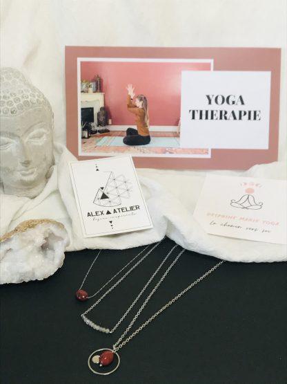 Coffret bien être - Yoga - colliers argentés bijoux en pierres naturelles Alex atelier acier chirurgical inoxydable artisanat