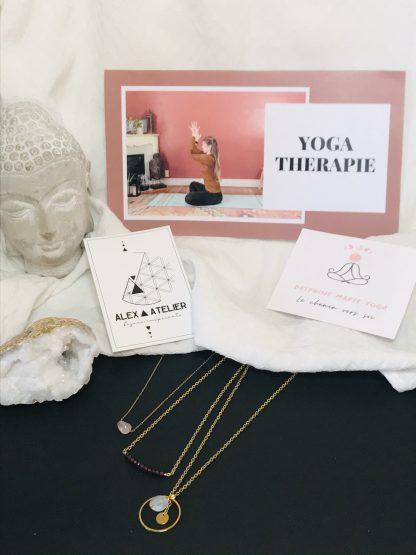 Coffret bien être - Yoga - colliers dorés bijoux en pierres naturelles Alex atelier acier chirurgical inoxydable plaqué or artisanat