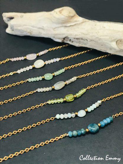 Collection Emmy OR bijoux en pierres naturelles Alex atelier acier chirurgical plaqué or artisanat