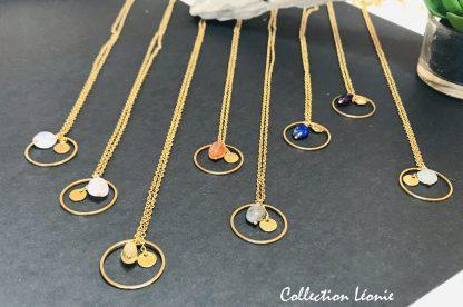 Collection Léonie OR bijoux en pierres naturelles Alex atelier acier chirurgical plaqué or artisanat